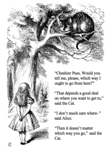 Alice asking the Cheshire cat